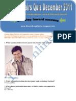 Current Affairs Quiz December 2011 - TheOnlineGK