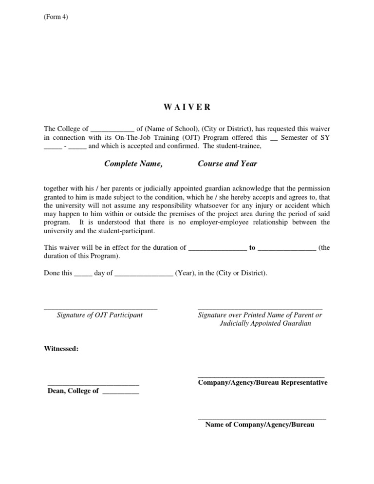 OJT Waiver Guide Form – Waiver Letter Template