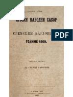 Stevan Pavlović - Srbski narodni sabor u Sremskim Karlovcima godine 1869