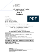 Level 1 Numeracy Test Paper F