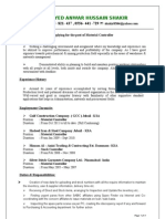 Resume of Syed Anwar Hussain Material Controller