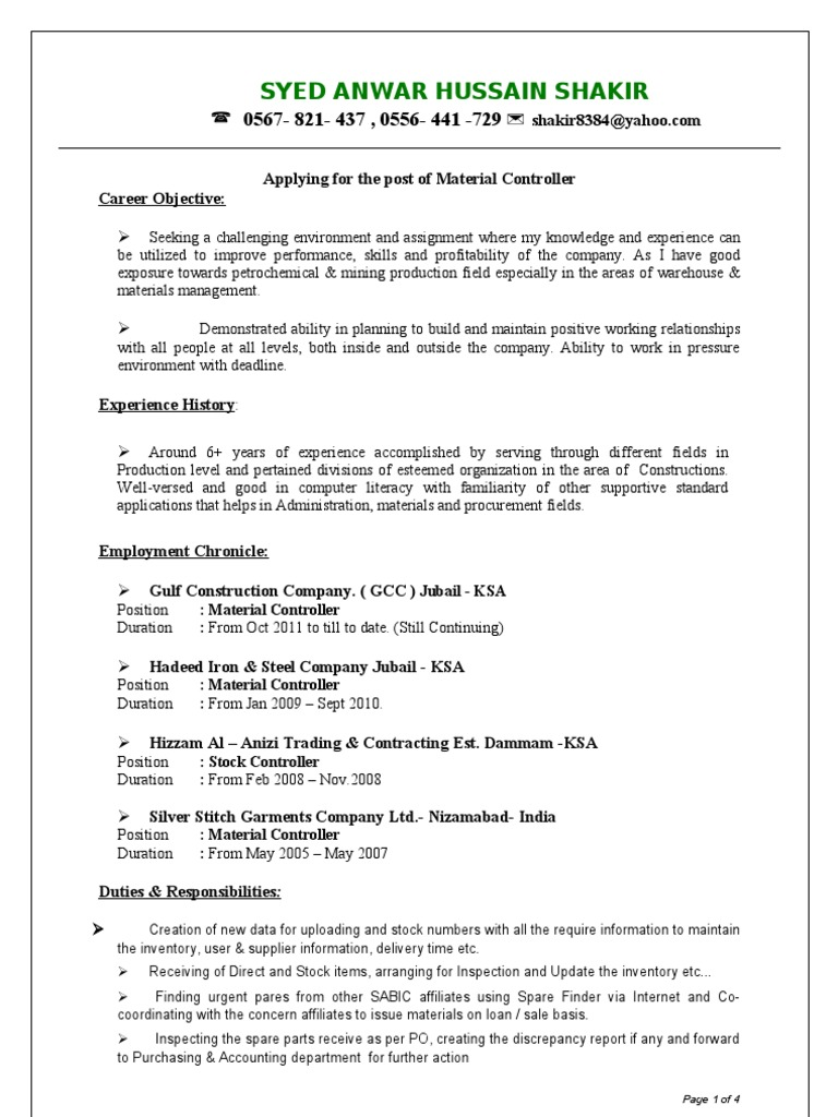 Resume Of Syed Anwar Hussain Material Controller Warehouse