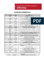Calendar i o Academic o 2012
