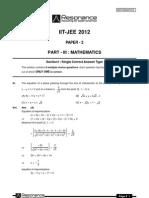 IITJEE 2012 Solutions Paper-2 Maths English