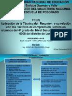 TESIS TECNICA DEL RESUMEN Y FACTORES DE LA COMPRENSIÓN LECTORA