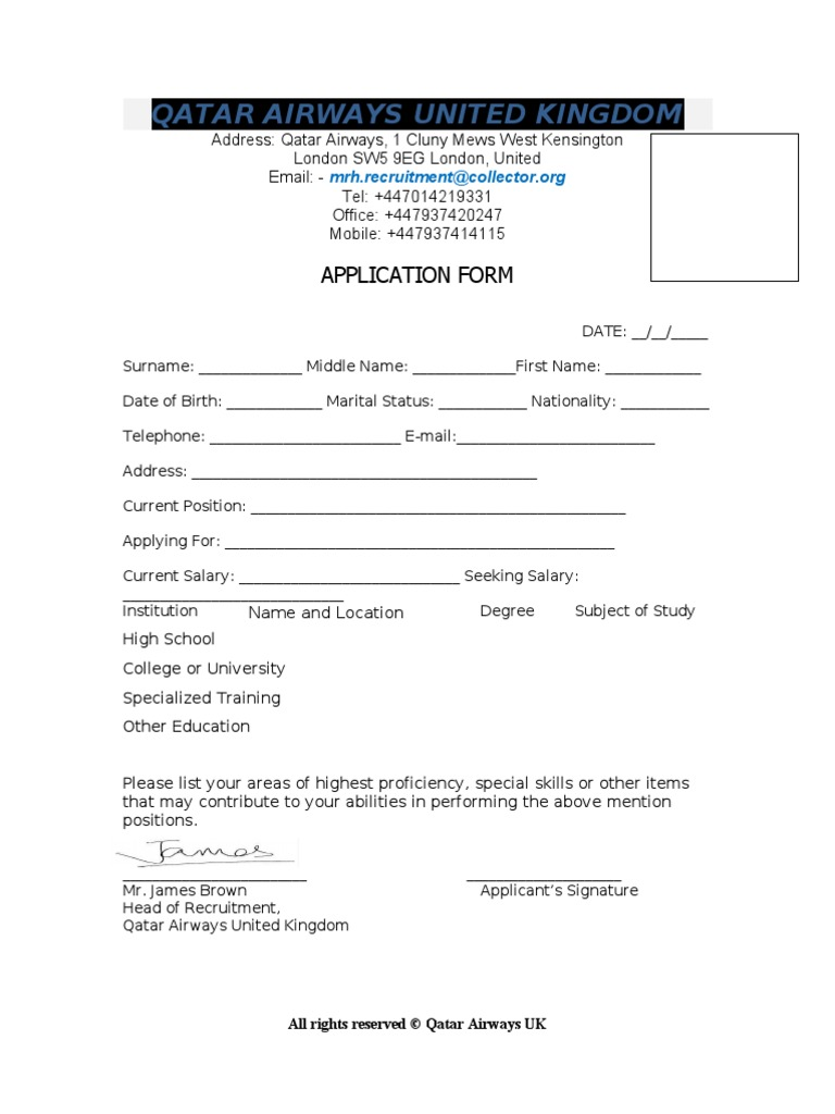qatar airways application form