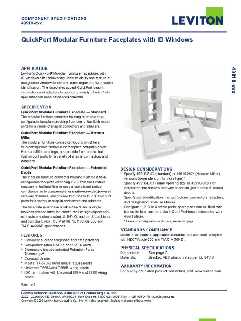 Herman Miller Black Leviton 49910-HE2 2-Port QuickPort Modular Furniture Faceplate