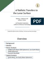 A Survey of Ballistic Transfers the Lunar Surface