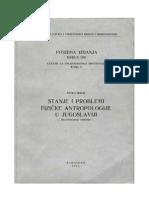 Živko Mikić - Stanje i problemi fizičke antropologije u Jugoslaviji [do bronzanog doba]
