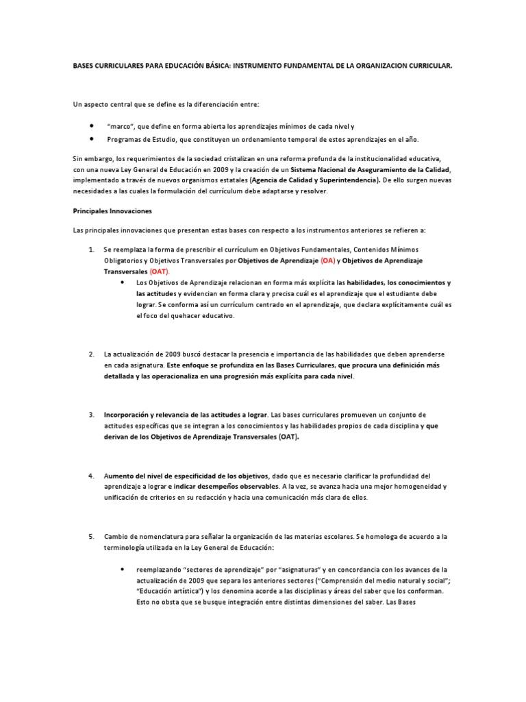 RESUMEN DE LAS BASES CURRICULARES PARA EDUCACIÓN BÁSICA