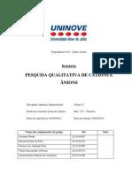 Pesquisa Qualitativa - Cátions e Ânions