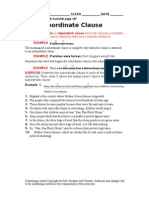Subordinate or Dependent Clause