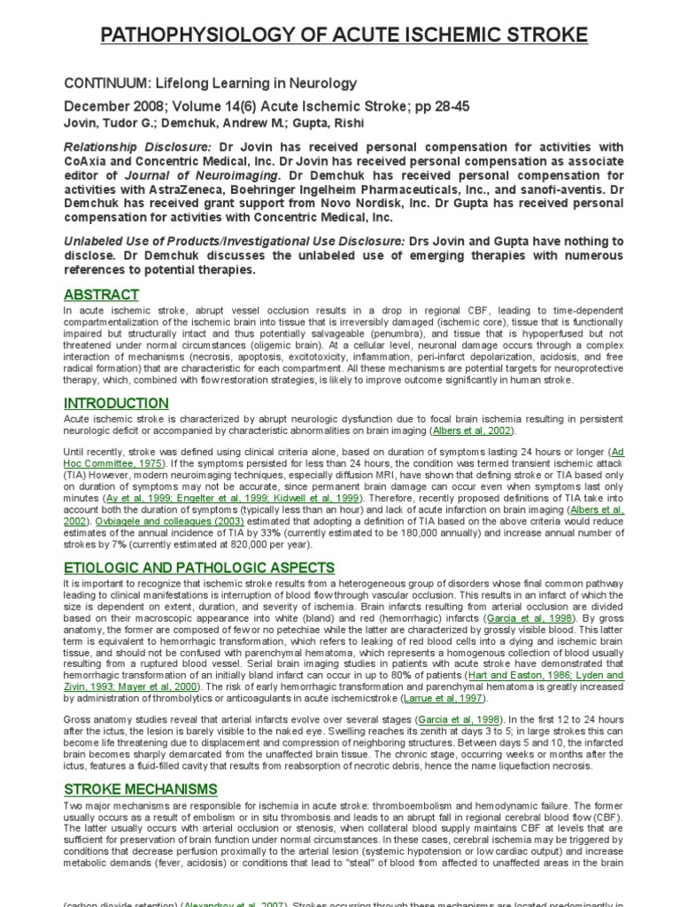 Pathophysiology of Acute Ischemic Stroke | Ischemia | Stroke