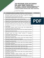 Program Legislasi Daerah Provinsi Jawa Timur Tahun 2012