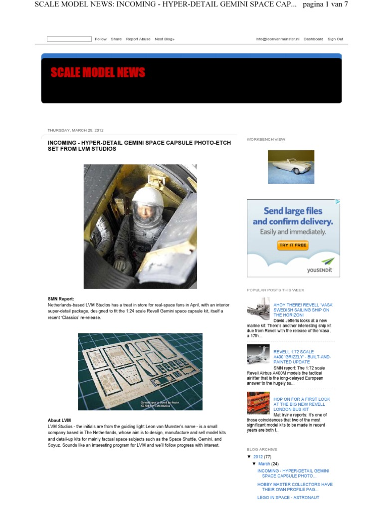Www scalemodelnews com Incoming Hyper Detail Gemini Space