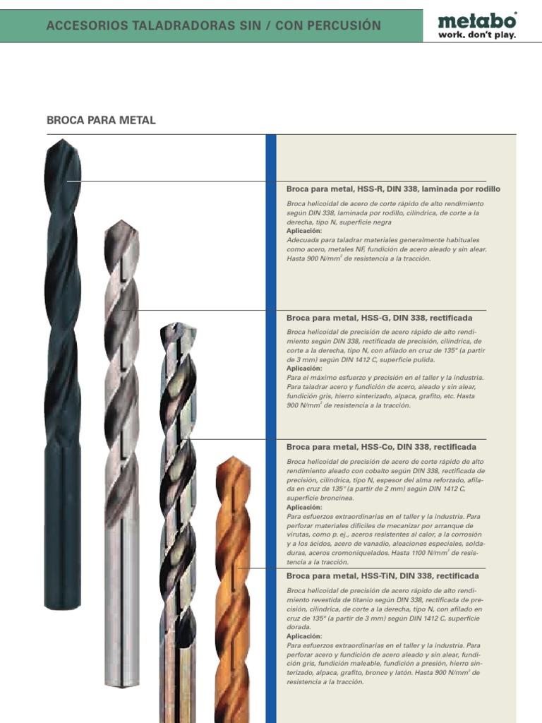 tipo N 10 brocas en espiral DIN 338 pulidas de acero r/ápido
