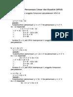 Soal Sistem Persamaan Linear Dan Kuadrat