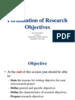 Formulation of Objective