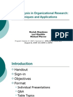 Content Analysis in Organizational Research