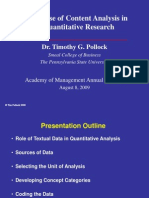 The Use of Content Analysis in Quantitative Research