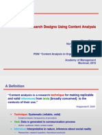 Research Designs Using Content Analysis