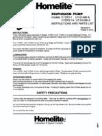 Homelite Diaphragm Pump UT-01496 111DP2-1 111DP2-1A IPL 24735-A