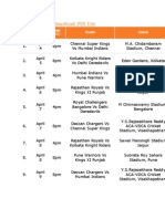 IPL 5 Schedule 2012