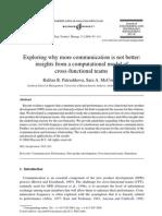期)2004_(A)Exploring why more communication is not better_ insights from a computational model of cross-functional teams