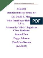 Malachi in E-Prime With Interlinear Hebrew in I.P.A.( 4-9-2012)