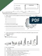Ficha de avaliação Nº 3 - Respiração celular - Sistemas excretores - Reprodução