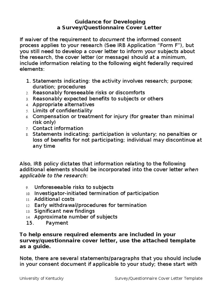 10355 Form F CL Template   Survey Methodology   Institutional Review ...