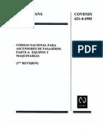 621-4-95 COVENIN - Código Nacional de Ascensores de Pasajeros. Parte 4. Equipos y Maquinarias (1ra Revisión)