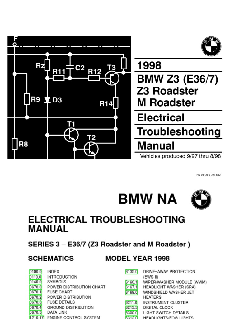 1998 BMW Z3-M Roadster Electrical Troubleshooting Manual