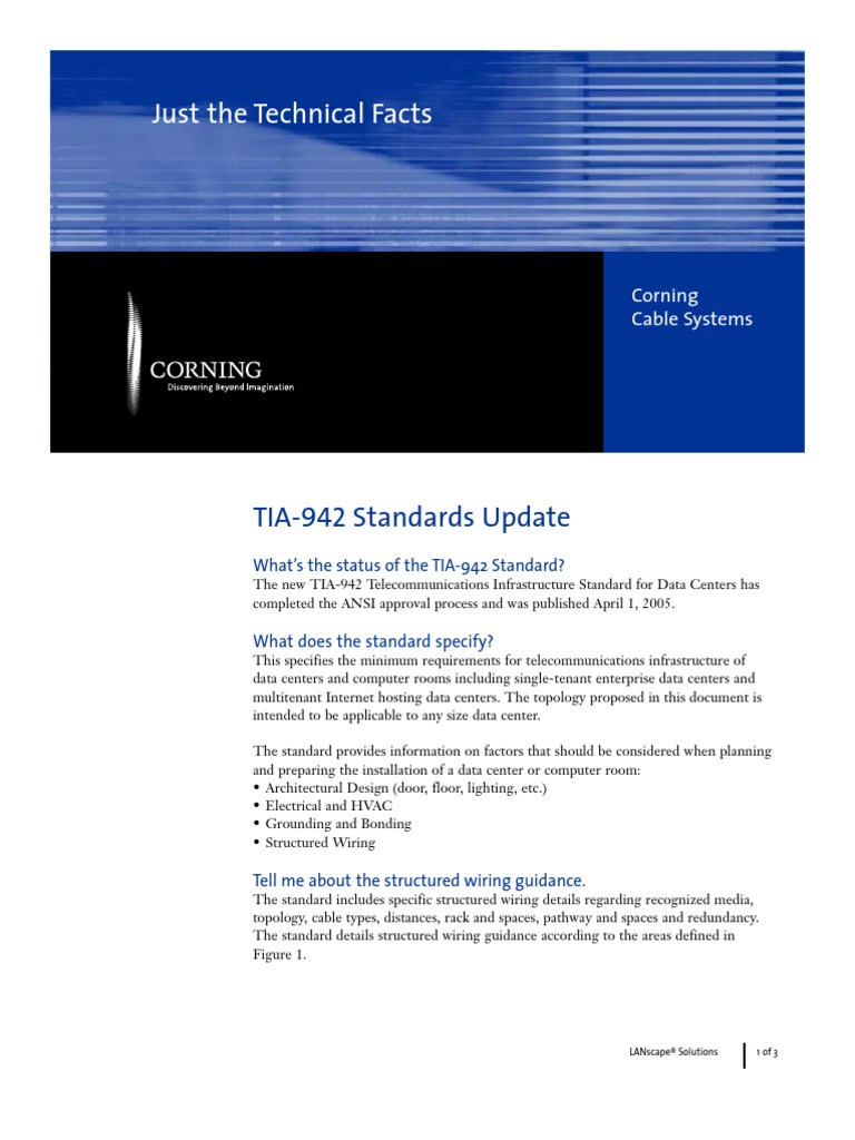 Tia Standard Update Data Center Cable Structured Wiring System Design