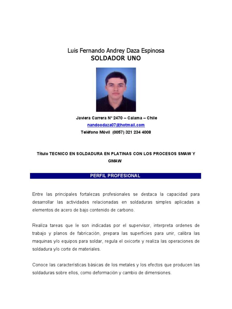 Lujo Hoja De Vida Para Soldadores Ayudante Elaboración - Ejemplo De ...