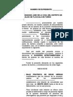Numero de Expediente Sucesorio TLAXCALA ESTADO DE MÉXICO