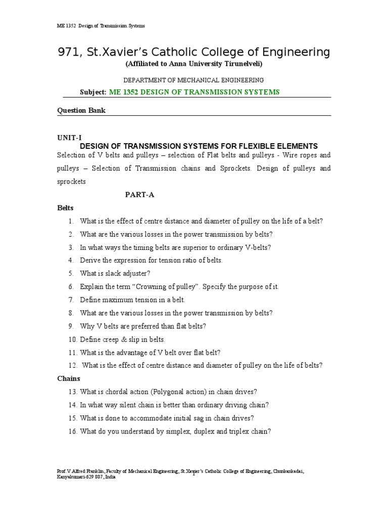 Design of Transmission System Question Bank | Gear | Belt (Mechanical)