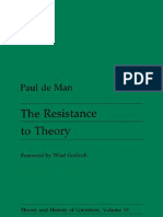 Paul de Man - The Resistance to Theory