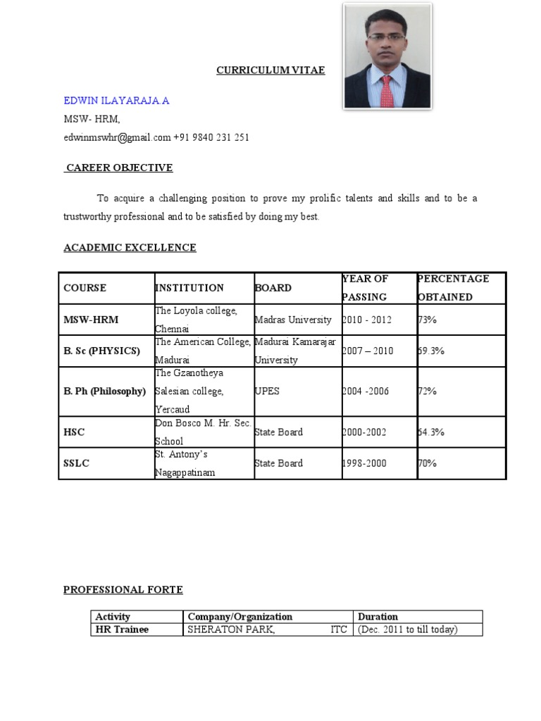 Resume Msw Hr Fresher