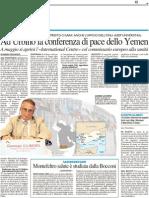 A Urbino la conferenza di pace dello Yemen - Il Resto del Carlino dell'8 aprile 2012