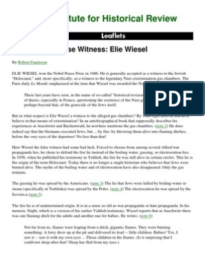 A Prominent False Witness Elie Wiesel Robert Faurisson The