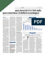 El Estado plantea invertir 4,500 mlls. soles para enfrentar el déficit tecnológico
