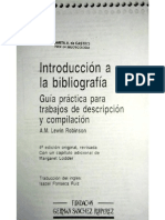 Introducción a la Bibliografía. Robinson, A. M. Lewin, (1992).