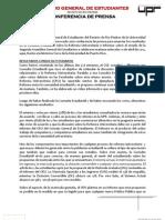 Conferencia de Prensa - Resultados Consulta Reforma Universitaria y Segunda Asamblea General de Estudiantes