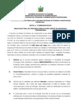 Classificacao Final Agente Penitenciario PB - 2008