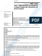 NBR 14420 - Couro - Determinacao Da Resistencia Ao Ataque Fungico Por Exposicao Em Camara Tropica