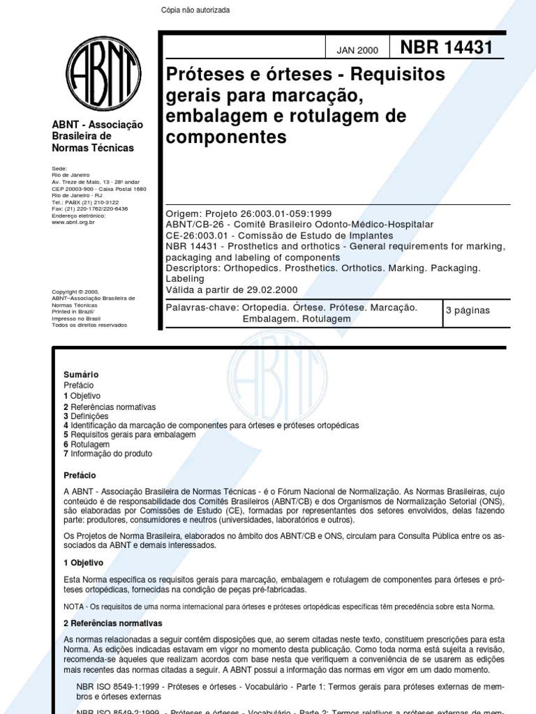 Nbr 14431 Proteses E Orteses Requisitos Gerais Para Marcacao