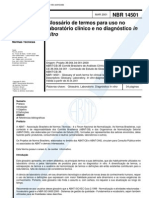 NBR 14501 - Glossario de Termos Para Uso No Laboratorio Clinico e No Diagnostico in Vitro