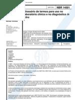 NBR 14501 - Glossario de Termos Para Uso No Laboratorio Clinico e No Diagnostico in Vitro