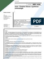 NBR 14548 - Couro - Ensaios Fisicos e Quimicos - Terminologia